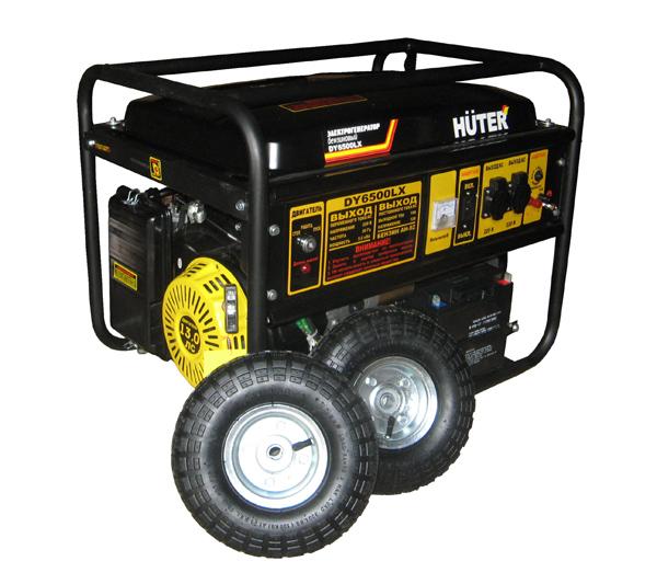 Бензогенератор Huter DY 6500 LX с колесами и АКБ