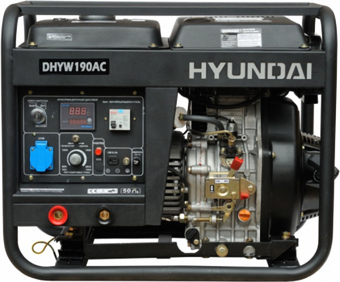 СварочВнешний вид сварочного генератора Hyundai DHYW 190ACный генератор Hyundai DHYW 190AC